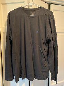Nautica Sleepwear Mens T-Shirt Pajama Top Black Long Sleeve Crew Neck Logo M