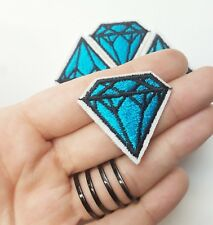 Small Black & Blue Ice Diamond Line Geometric Iron-On/Sew-On Embroidered Patch