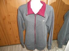 LONSDALE COTTON/POLYESTER GREY AND BURGUNDY LEISURE CARDIGAN SIZE 16
