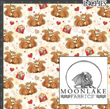Valentine Squirrel Hugs Repeat Fabric 100% Quality Cotton Poplin Fabric