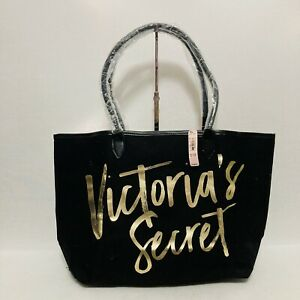 NWT Victoria Secret Womens Shopping Tote Black and Gold