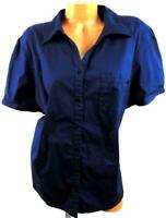 Liz & me navy blue patch pocket short sleeve stretch button down top 22/24W