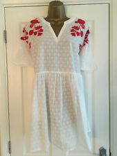 NEXT Ladies White Red Embroidered Short Sleeved Dress Size Medium Petite