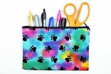 Rainbow Paw Prints Pencil Bag - Cat Lover Pencil Pouch - Dog Lover Makeup Bag
