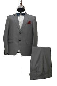 Men Grey Suit Designer Grooms Wedding Party Wear Dinner Suits (Coat+Pants)