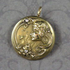 Vintage Art Nouveau Style 14K Yellow Gold Diamond Round Brooch and Pendant