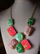 Kate Spade New York Pink Green Gold Pop Garden Statement Bib Necklace NWT $328