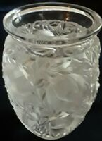 Lalique Bagatelle Lead Crystal Vase with Birds & Foliage
