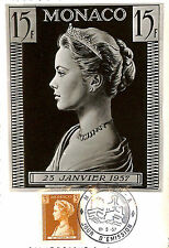 PHILATELIE MONACO CARTE POSTALE FIRST DAY COVER GRACE KELLY 1957