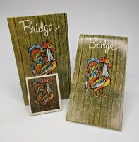 Vintage Contract Bridge Tally/Score Sheets Set, Featuring a Colorful Rooster