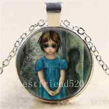 Keane Big Eye Cabochon Glass Tibet Silver Chain Pendant  Necklace