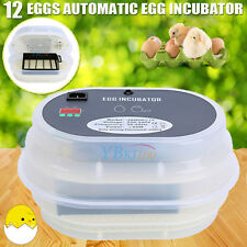 12 Egg Incubator Fully Automatic Digital LED Turning Chicken Duck Goose Poultry