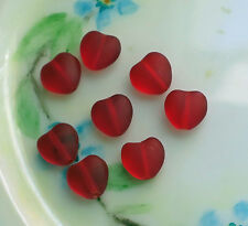 #827E Vintage Heart beads Matte Red Hearts Glass Czech Glass Valentines 8mm