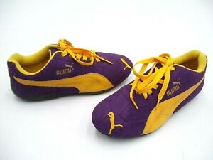 PUMA LADIES SHOES RUNNERS CASUAL TRAINERS PURPLE YELLOW SUEDE US SIZE 4