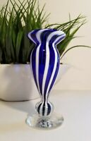 Signed TOPU 99' Blue and White Swirl Studio Art Glass Bud Vase