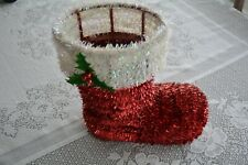 "Santa Claus Boot Christmas Decoration Tinsel Basket Red White Holly 10.5"" Tall"