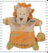 H - Doudou Semi Plat Marionnette Lion Adam Broderies Baby Nat