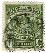 (I.B) Chile Telegraphs : 10c Green (small format)