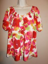 Isaac Mizrahi Live Womens Size M Floral Button Down Blouse Pleated Front