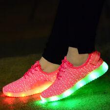 Unisex Boys Girls LED Light up Luminous Shoes Young Man USB Party School Shoes