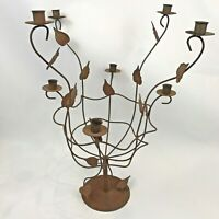 Wrought Iron Candelabra Large Candle Holder Centerpiece Rustic Modern Farmhouse