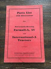 Farmall A Antique Tractor Manual AV IHC McCormick Deering B C H M John Deere D R