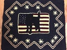 """Wool Hand Hooked Rug - """"Stars, Stripes, and Shadow"""" (25"""" W x 21 1/2"""" L)"""