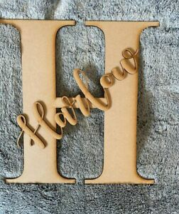 Mdf lasercut large undecorated wall sign personalised name