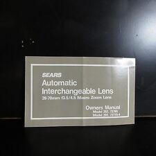 Sears Automatique Interchangeable Lentille Propriétaires Manuel 28-70mm f3.5-4.5