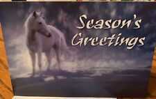 10 Christmas Note Cards & Designed Envelope Seasons Greetings Snow White Horse