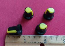 4 Black & Yellow Potentiometer Knobs For Guitar Amp Effect Pedal Stompbox Mixer