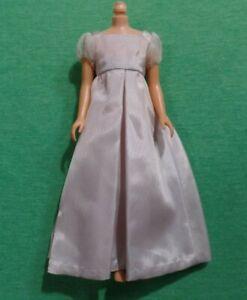 Vintage Skipper Clothes - Vintage Skipper CLONE Pale Silver Gray Taffeta Dress