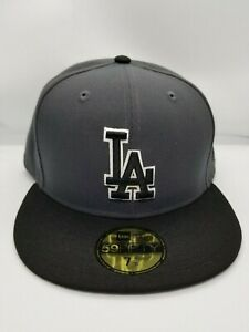 NEW ERA 59FIFTY FITTED HAT.  MLB .  LOS ANGELES DODGERS. GRAPHITE.