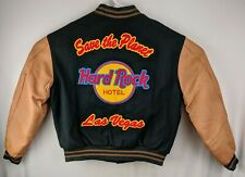 Vnt Hard Rock Hotel Letterman's Jacket Sz L 1995 Wool Leather Rare Colors Lined