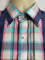 Peter Millar Mens Long Sleeve Button Front Shirt Multi-Color Check Size Large