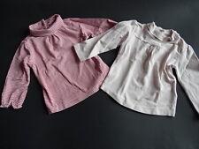 VERTBAUDET Zwei tolle Basic LG Shirts mit Rolli Ringel+uni rosa Gr.12 mois 74