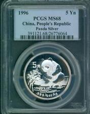 1996 PANDA SILVER COIN 1/2 Oz. 5Y 5-Yuan 5-Yn CHINA PCGS MS68 STUNNING