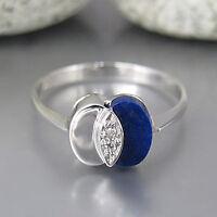 Ring mit ca. 0,04ct Diamant und Lapis Lazuli Besatz in 585/14K Weißgold