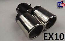 Twin Dual Exhaust Trim Double TIPS MUFFLER PIPE Chrome Queue 60 mm UK Vendeur EX10