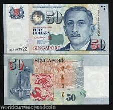 SINGAPORE 50 DOLLARS P49 2005 2007 MAS LHL PM SIGN UNC GUITAR ANIMAL MONEY NOTE