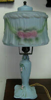 ART NOUVEAU REVERSE GLASS DECORATED BOUDOIR ANTIQUE LAMP