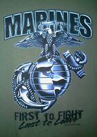 NEW USMC MARINES FIRST FIGHT LAST LEAVE CORPS T-Shirt ARMY Drab OLIVE GREEN XL M