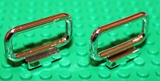 Lego 2x Silver Chrome Fence Bar 1x4x2 (6187) NEW!!!