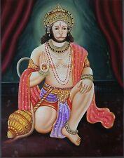 Hanuman Art Handmade Indian Miniature Hindu Ramayana Epic Oil Canvas Painting