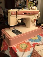 Vintage Singer Merritt Sewing Machine Model 2404 Pink and White Case