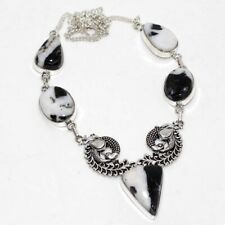 """White Buffalo Turquoise 925 Sterling Silver Plated Necklace 18"""" GW"""