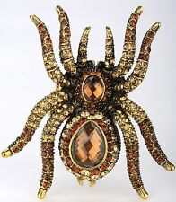 Spider Stretch Ring Crystal Rhinestone Animal Jewelry Halloween Gold Brown RA01