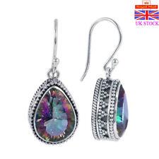eef94fdc5 Women 925 Sterling Silver Mystic Rainbow Topaz Hook Drop Dangle Stud  Earrings UK
