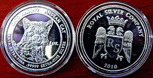 Royal Silver Compay 1 Oz .99999 Extra Fine Silver Bullion 2010 Andean Cat