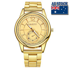 Hot Luxury Men's Gold Minute Stainless Steel Gold Plated Gold Dial Quartz Watch